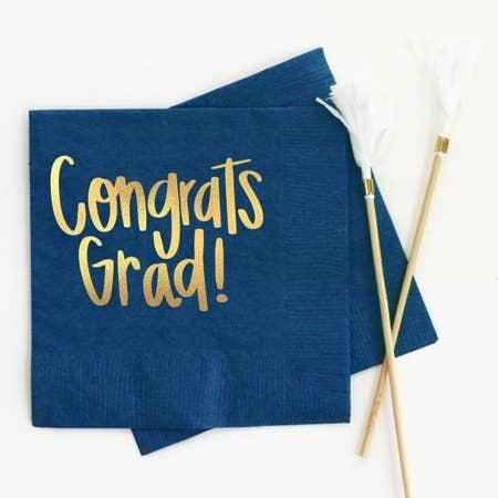 When It Rains Congrats Grad Napkins, Navy