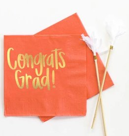 When It Rains Congrats Grad Napkins, Orange
