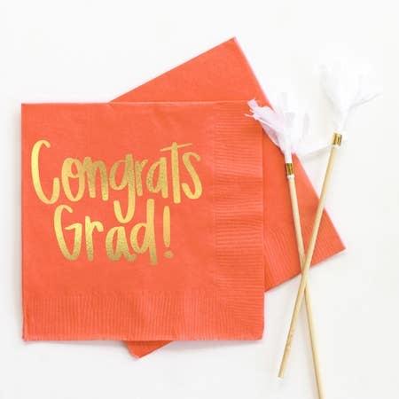 When It Rains Congrats Grad Napkins, Orange