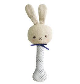 Alimrose Baby Bunny Stick Rattle, Navy Spot