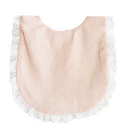 Alimrose Ruffle Edge Bib, Pink Linen