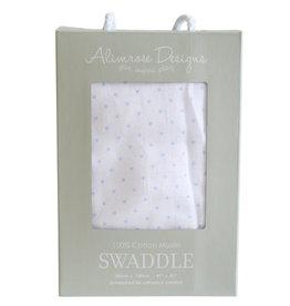 Alimrose Muslin Swaddle, Pin Spot Blue