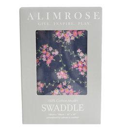 Alimrose Muslin Swaddle, Wildflower Navy