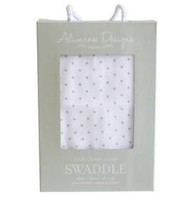 Alimrose Muslin Swaddle, Pin Spot Grey