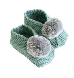 Alimrose Baby Pom Pom Slippers, Sage & Grey