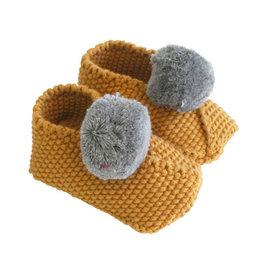 Alimrose Baby Pom Pom Slippers, Butterscotch & Grey