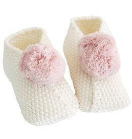 Alimrose Baby Pom Pom Slippers, Ivory & Pink