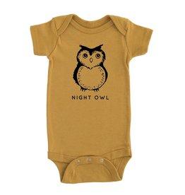 Nature Supply Co. Night Owl Onesie, Mustard (3-6mo)