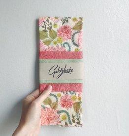 Goldilocks Wraps Pink Floral Beeswax Wraps, Set/2