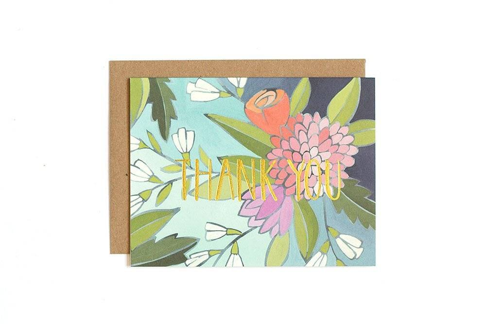 1Canoe2 Floral Foil Thank You, Boxed