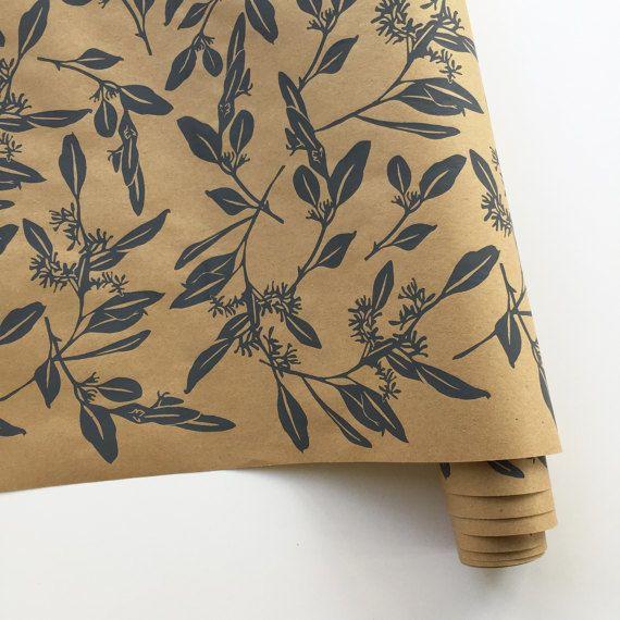 Bonnie Kaye Studio Eucalyptus Gift Wrap, Kraft & Gray