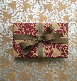Bonnie Kaye Studio Botanical Gift Wrap, Berry Red