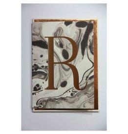 Katie Leamon Marbled Alphabet Card - R
