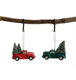 Creative Co-op Resin Truck Ornament, Red