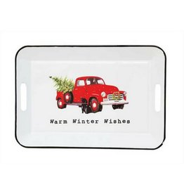 Creative Co-op Warm Winter Wishes Enamel Tray