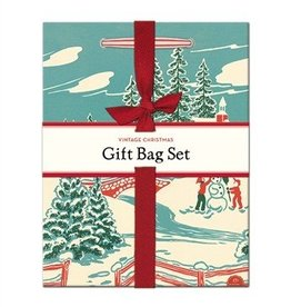 Cavallini Papers Vintage Christmas 2 Gift Bag Set