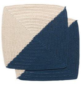 Now Designs Crochet Angle Blue Dish Cloths
