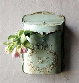 Creative Co-op Embossed Tin Letterbox, Green