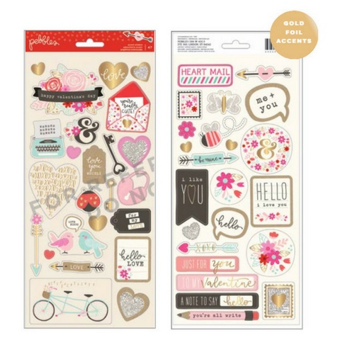 American Crafts Valentine's Day Sticker Sheets 6x12