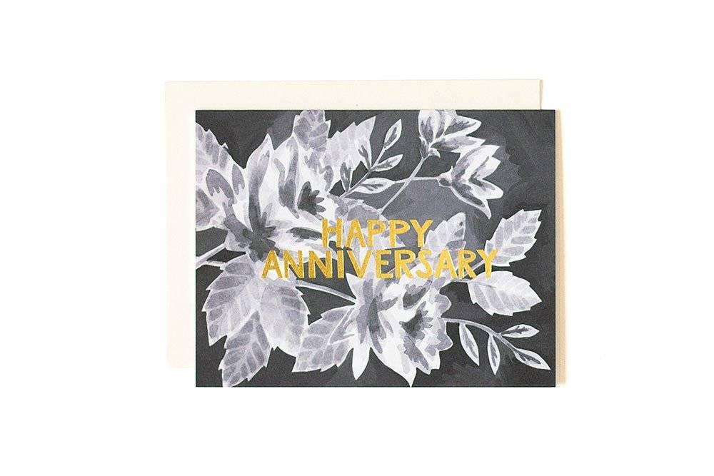 1Canoe2 Anniversary Black Floral Card