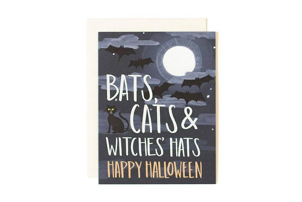 1Canoe2 Bats Cats Halloween Card