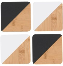 Now Designs Coasters Dipped Angle B&W, Set/4