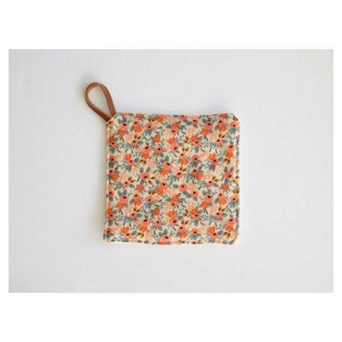 Southern Top Stitch Floral Peach Pot Holder
