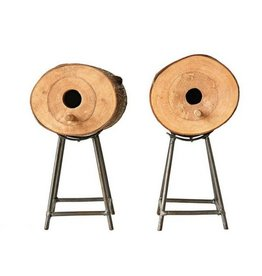 Creative Co-op Log Birdhouse & Stand