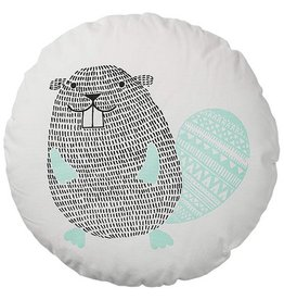 Bloomingville Round Pillow w/Beaver