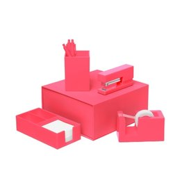 Talking Out Of Turn Desk Set - Neon Coral
