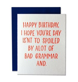 Ladyfingers Letterpress Happy Birthday Grammar