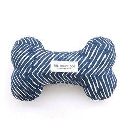 The Foggy Dog Navy Herringbone Dog Bone