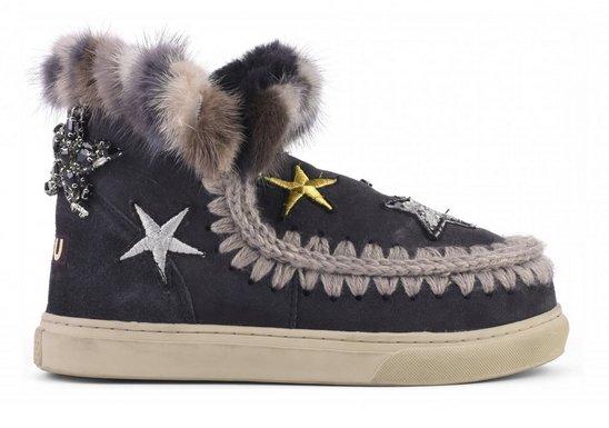 Star Patches & Mink Fur Trim Boots