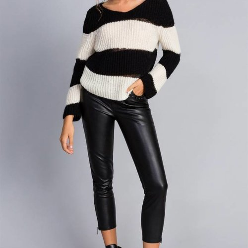 TwinSet Black Leather Pant