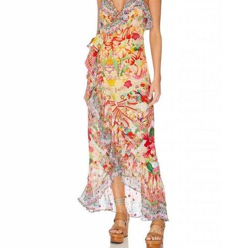 Camilla Long Wrap Dress W/ Frill