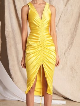 Nonie Drawstring Silk Yellow Dress