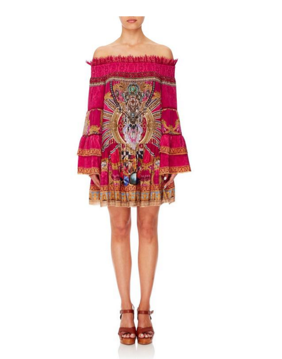 Camilla Off Shoulder Dress w Smocking