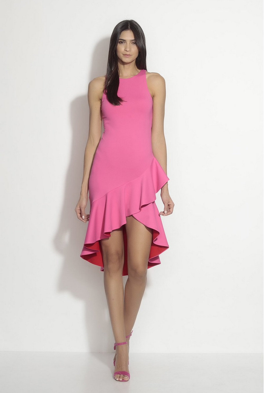 Susana Monaco  Contrast Ruffle Sleeveless Dress