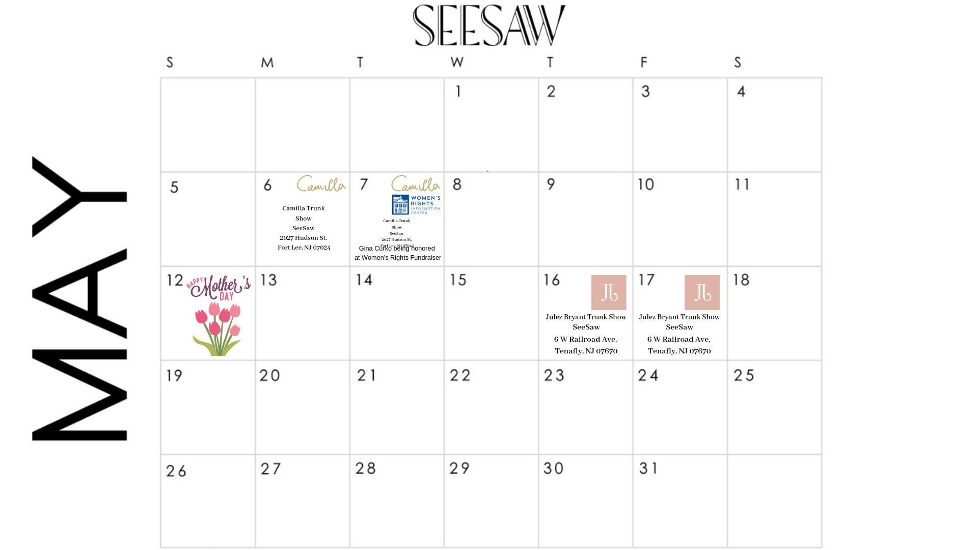 SeeSaw May Calendar