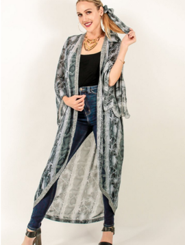 Meet Me In Miami Long Kimono w Metallic Trim