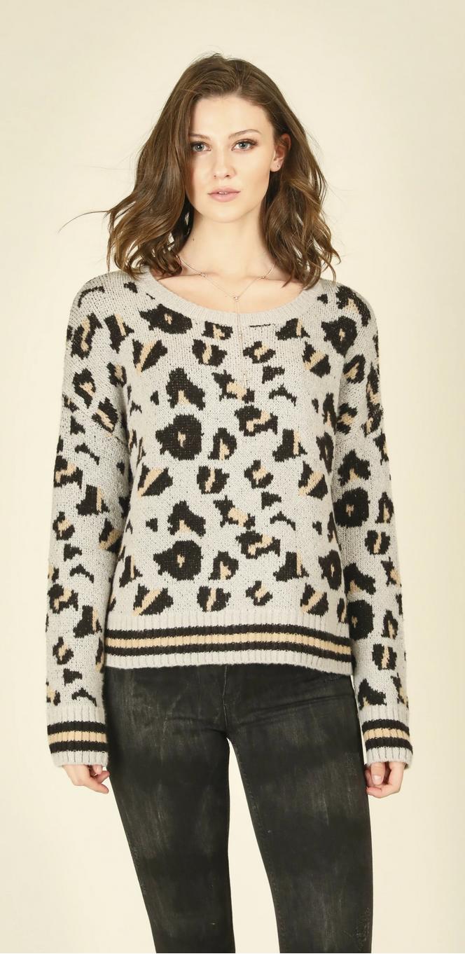 Vintage Havana Leopard Print Crewneck Sweater