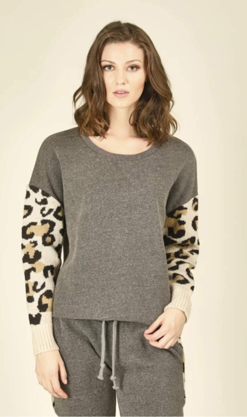 Vintage Havana Heather Grey w Leopard Fleece