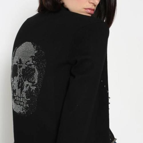 Minnie Rose Studded Skull Cardigan