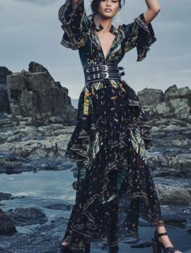 Camilla Maxi Skirt w/ Double Frill