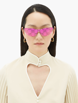 Gucci Gucci Monogram Mirrored Cat Eye Sunglasses In Pink Gold