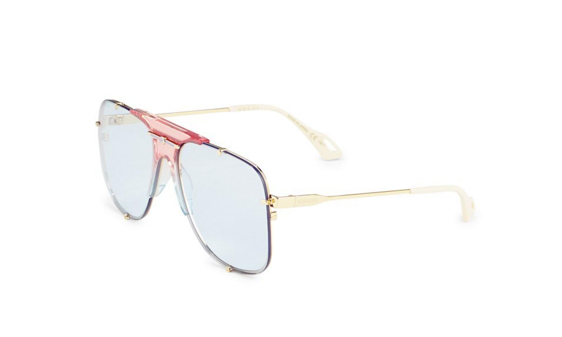 Gucci Gucci  Embellished Pilot Oversized Square Sunglasses