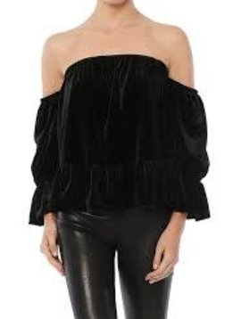 MISA Off Shoulder Velvet Top