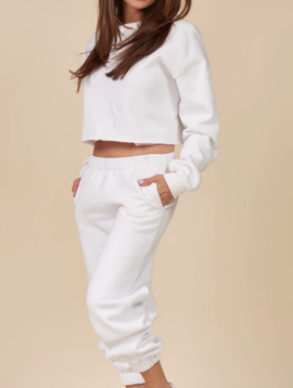 Vintage Havana White Proweave Cropped Henley Jogger