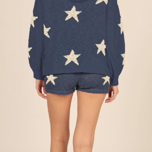 Vintage Havana  Blue and Ivory Star Slub Knit Shorts