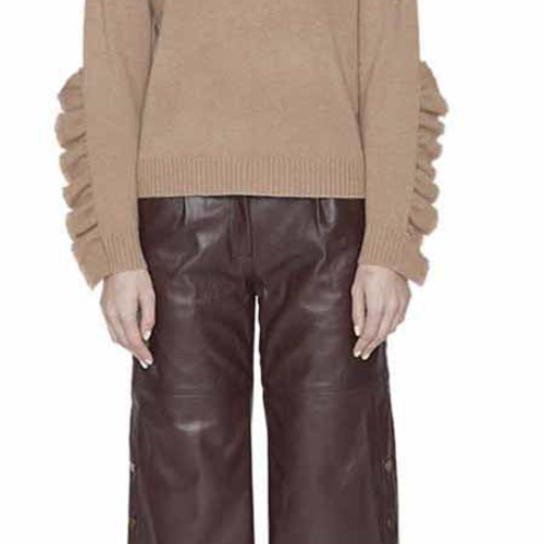 Maison de Papillon Nadia Ruffled-Long Sleeve Cashmere Sweater